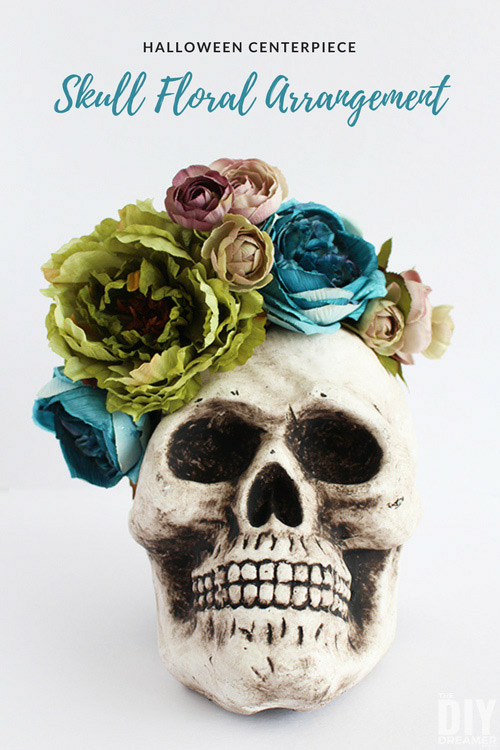 Decorate your home with a fun DIY Skull Floral Arrangement, makes a beautiful Halloween Centerpiece! Takes less than 10 minutes to make!