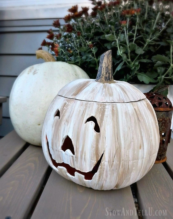 White Painted Jack O Lantern