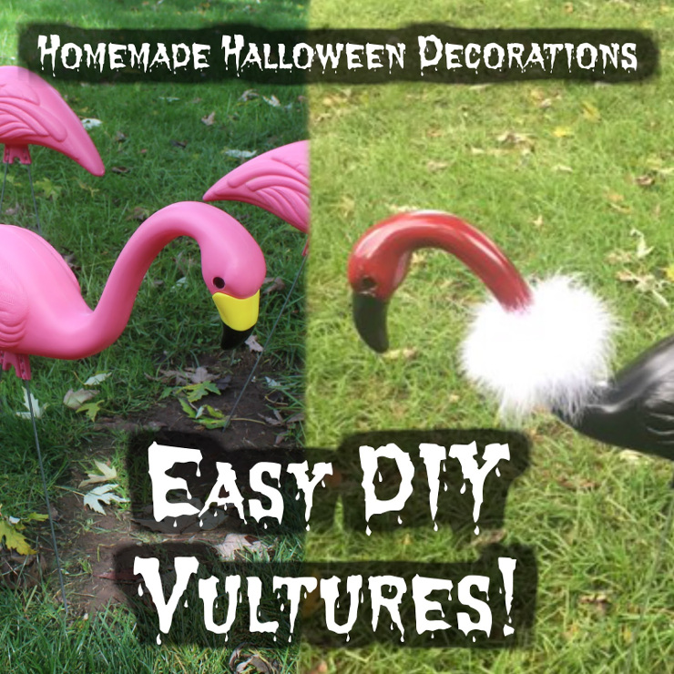 Easy DIY Vultures from Misadventures. Fun outdoor Halloween decorations!