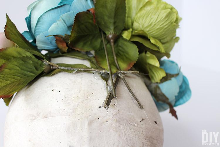Hot glued flower stems
