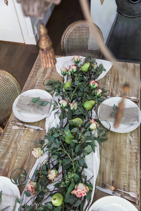 Eucalyptus, Pears and Roses Table Runner Centrepiece
