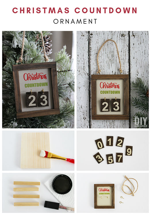 DIY Christmas Countdown Ornament. This ornament is so fun to make that you'll want to make a bunch to give to your family members. Such a unique way to count the days until Christmas. #christmascountdown #daysuntilchristmas #christmasornaments