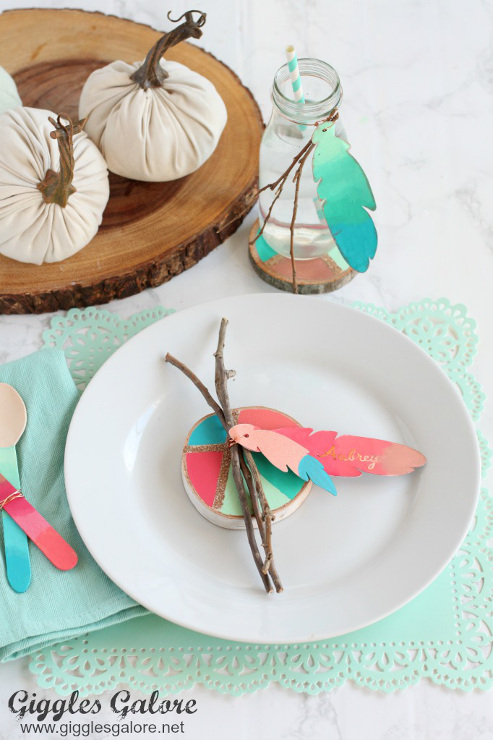 Colorful Painted Feather Thanksgiving Place Cards
