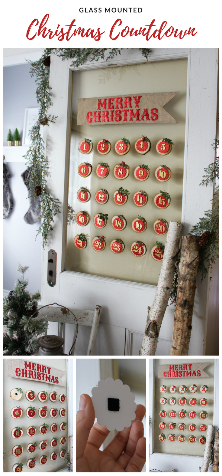 Glass Mounted Christmas Countdown. This wood slice Christmas Countdown can be used year after year. A beautiful way to countdown to Christmas. A fun DIY Christmas Countdown project! #christmas #christmascountdown #christmasdecor
