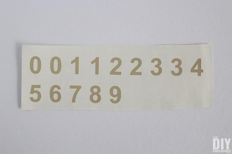 Beige vinyl numbers