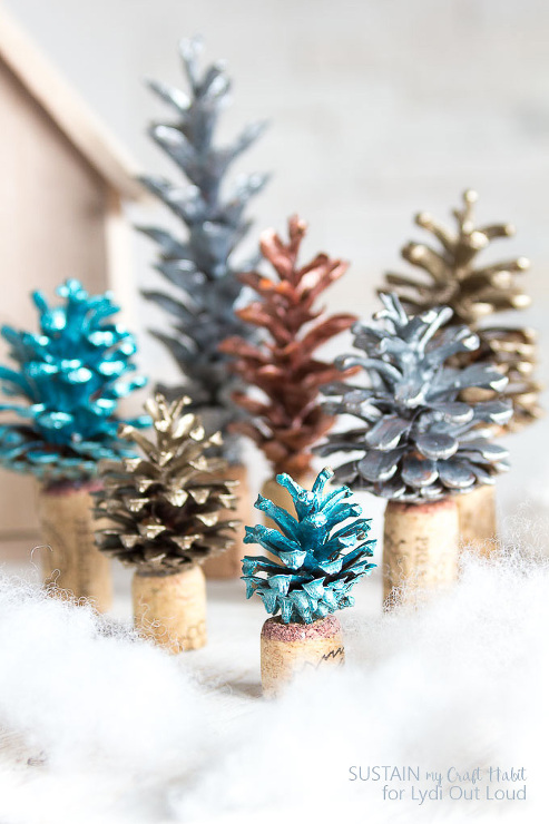 Painted Pinecone and Cork Christmas Tree Decorations