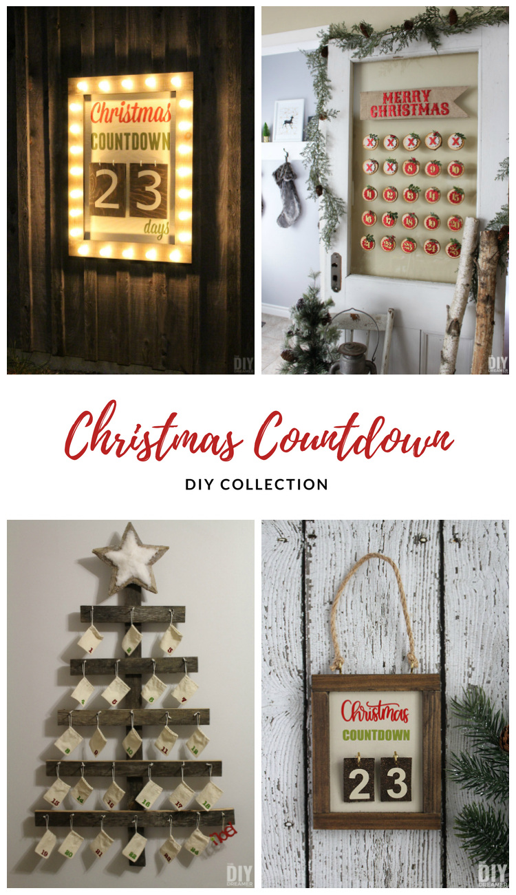 A collection of DIY Christmas Countdowns that you can make. Fun ways to count the days until Christmas. #christmas #christmascountdown #christmasdecor