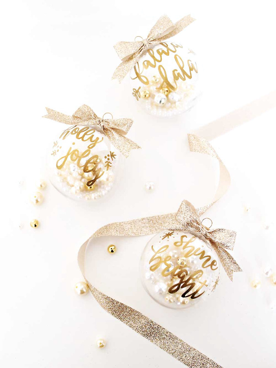 DIY Gold Hand Lettering Christmas Ornaments