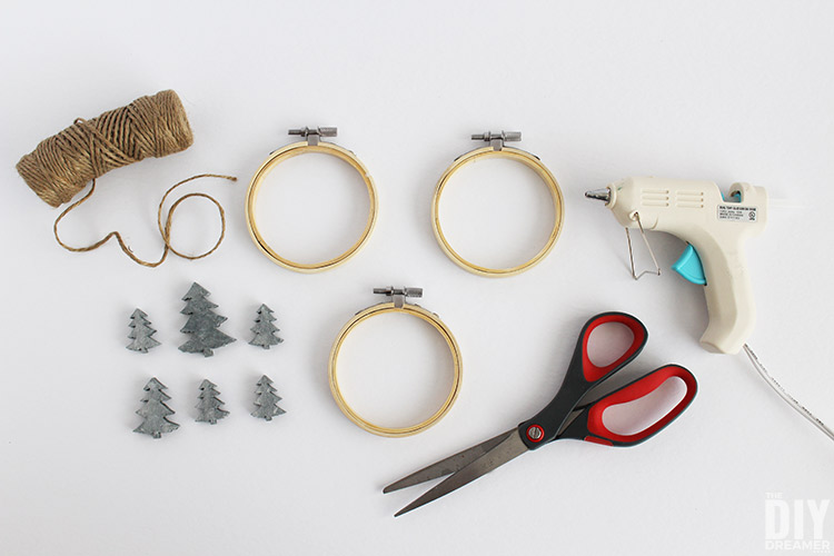 Supplies to make faux concrete Christmas tree ornaments