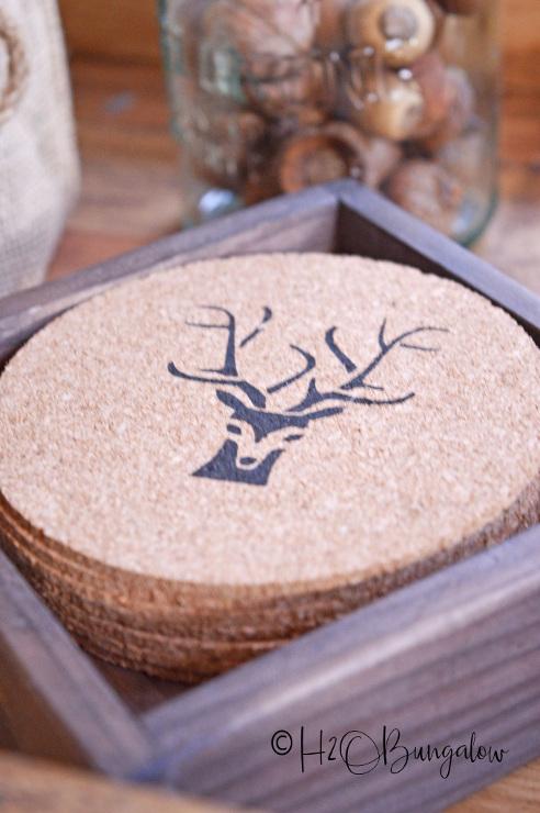 Rustic Deer Antler DIY Drink Coasters