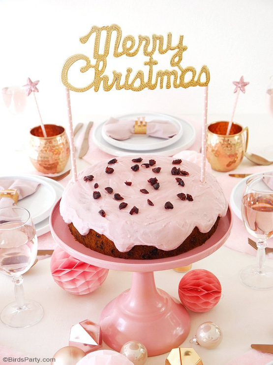 Pink Cranberry Christmas Cake & DIY Cake Topper