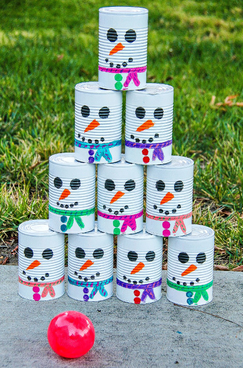 DIY Snowman Tin Can Toss