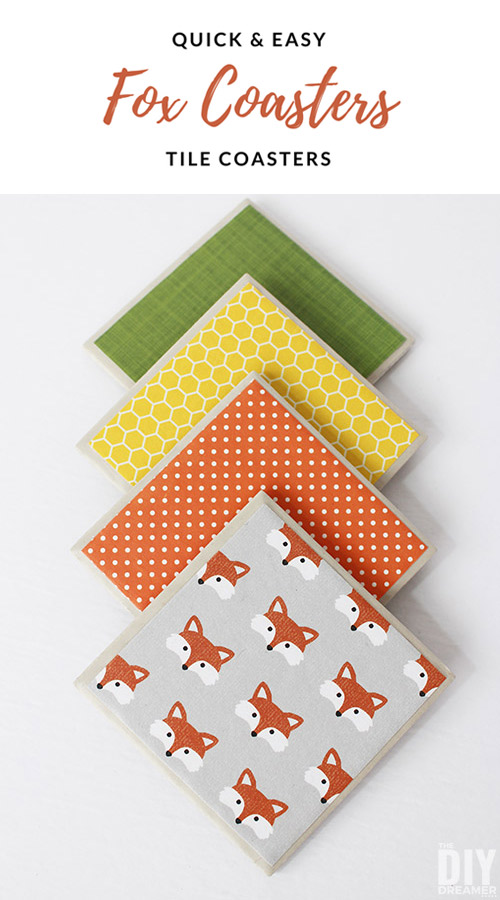 Fun Fox Coasters! Easy to make DIY Fox Tile Coasters!