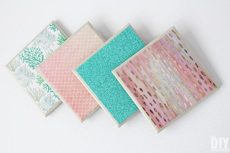 DIY Shimmery Mermaid Tile Coasters
