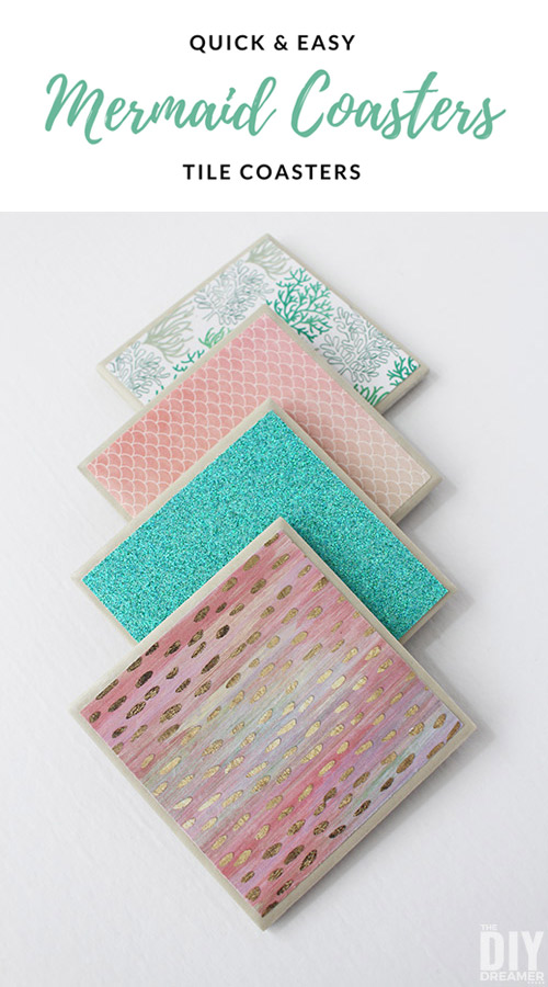 Beautiful DIY shimmering Mermaid Tile Coasters. These mermaid coasters are easy to make and will bring a smile to anyone who loves mermaids. They make great gifts too!