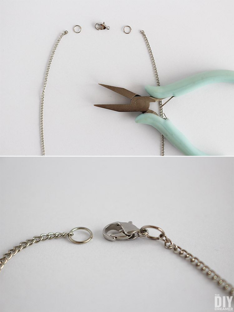 How to add a lobster clasp onto a chain to make a necklace.
