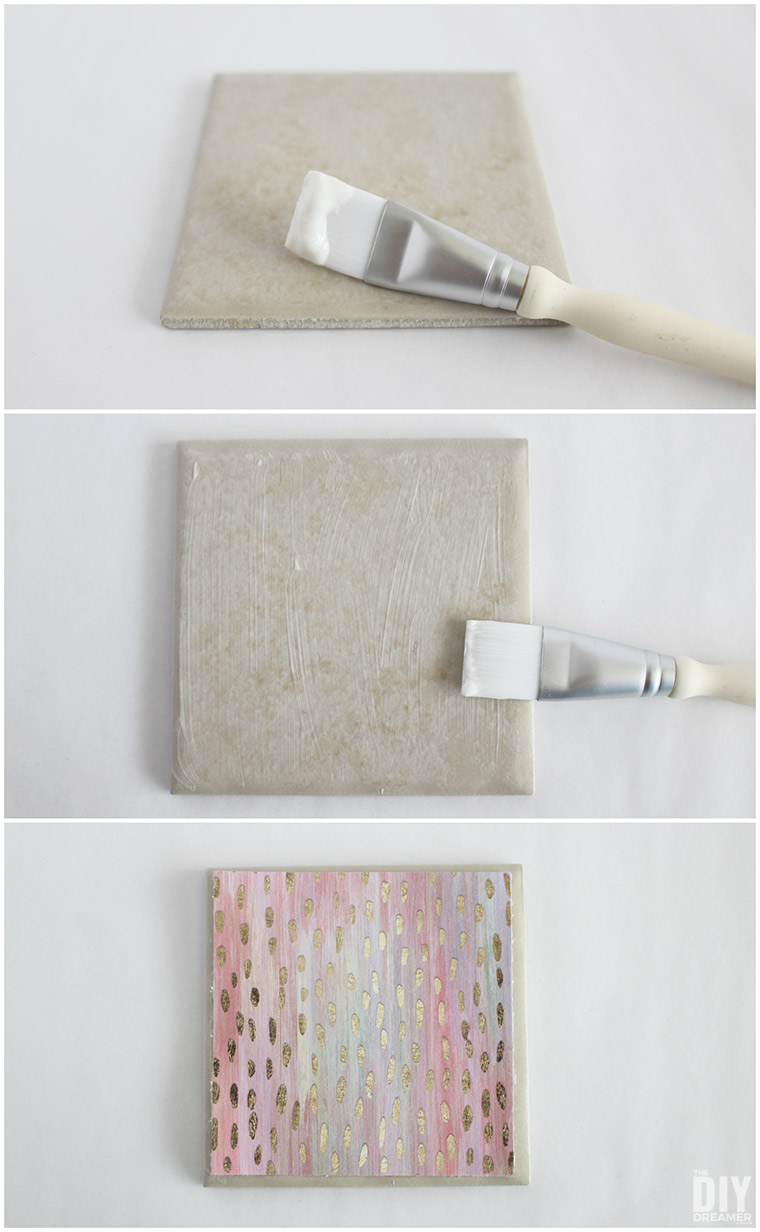 How to apply decoupage on a tile to adhere paper to it.
