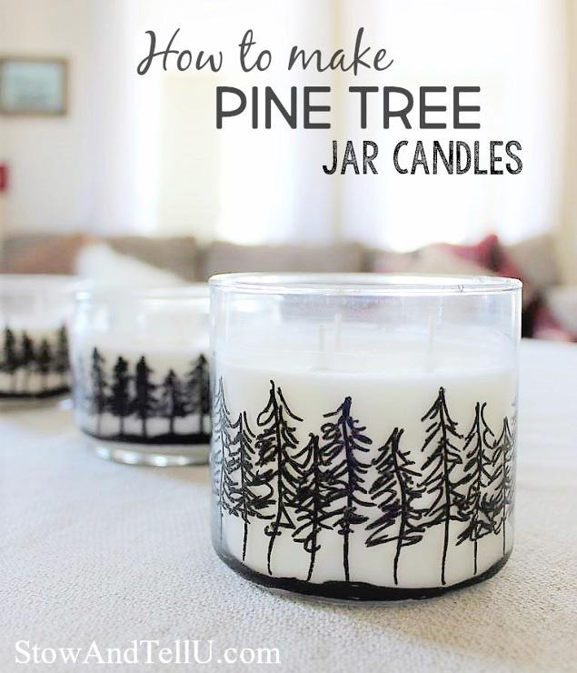 DIY Pine Treeline Drawing Jar Candles