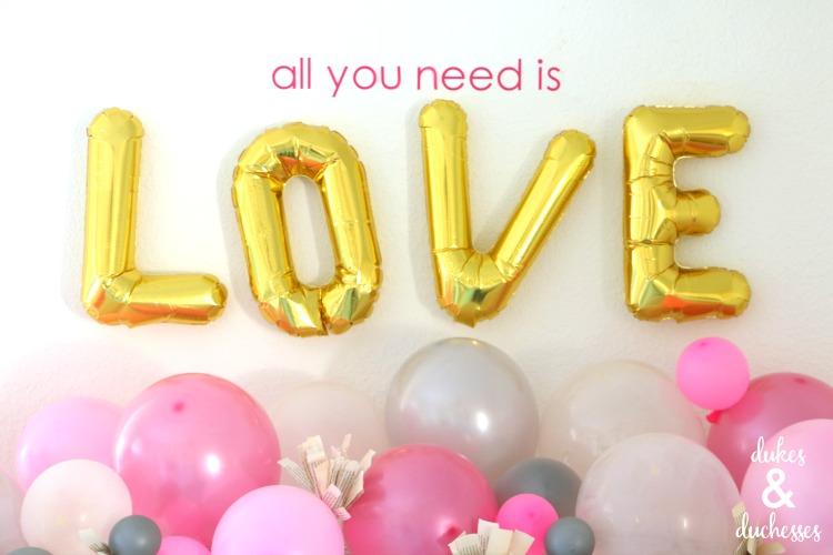 Balloon Garland Mantel for Valentine's Day