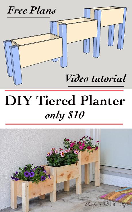 $10 DIY Cedar Tiered Planter Box