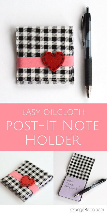 Easy Oilcloth Post-It Note Holder