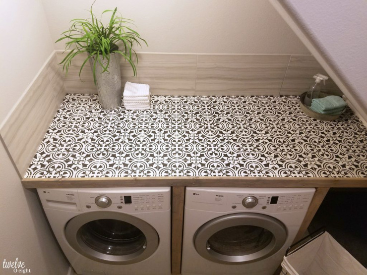 DIY Faux Tiled Laundry Folding Station