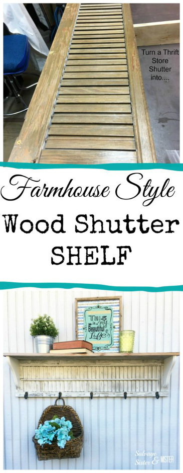 DIY Wood Shutter Shelf