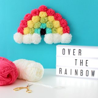 DIY Pom Pom Rainbow Art
