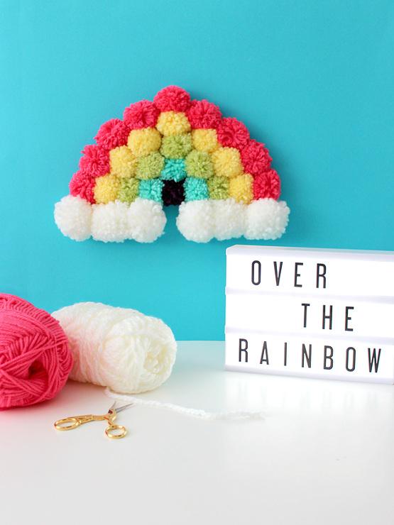DIY Pom Pom Rainbow Art