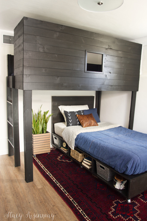 DIY Modern Loft Bed and Bed with storage