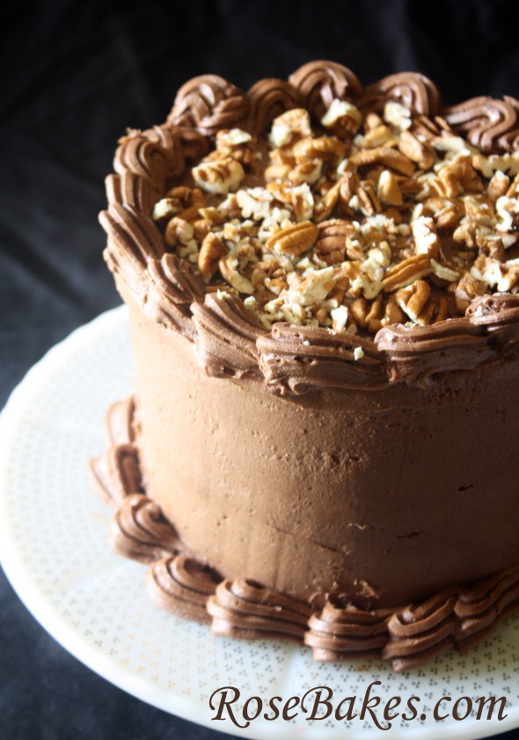 German Chocolate Cake with Chocolate Cream Cheese Buttercream Frosting