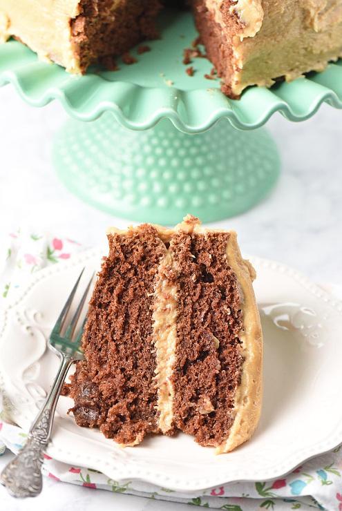 Peanut Butter Chocolate Cake from scratch