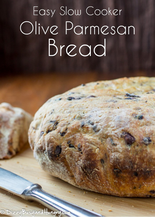 Easy Slow Cooker Olive Parmesan Bread