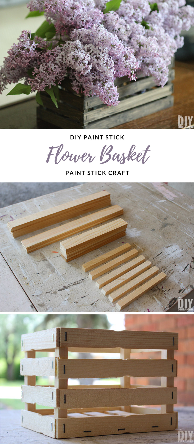 DIY Paint Stick Mason Jar Caddy. Beautiful DIY Paint Stick Flower Basket. Learn how to build a flower basket using paint sticks. Also includes DIY instructions to make smaller version that holds 2 mason jars. #paintstick #paintstickcraft #flowerbasket #masonjar