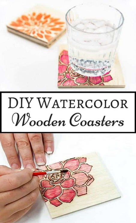 DIY Watercolor Wooden Coasters