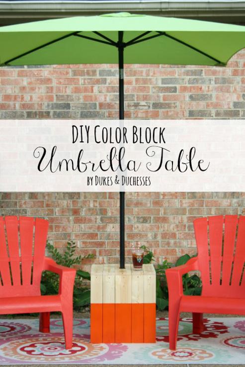 DIY Color Block Umbrella Table