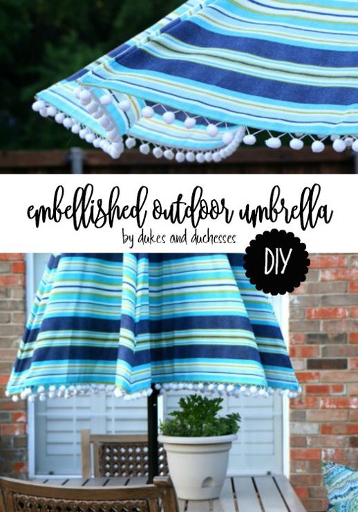 DIY Embellished Outdoor Umbrella
