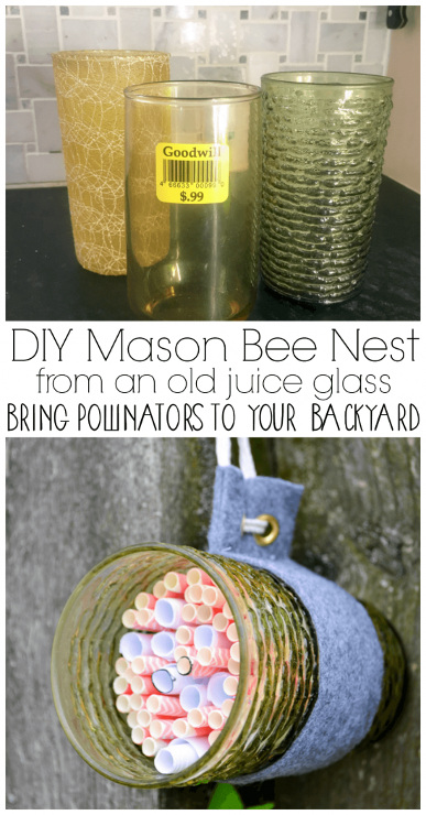 DIY Mason Bee Nest from Old Juice Glasses
