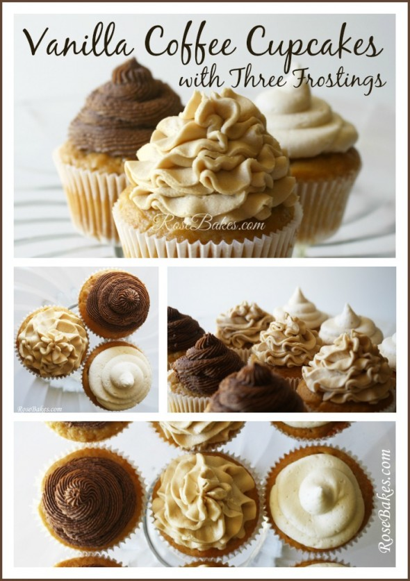 Vanilla Coffee Cupcakes with Three Frostings