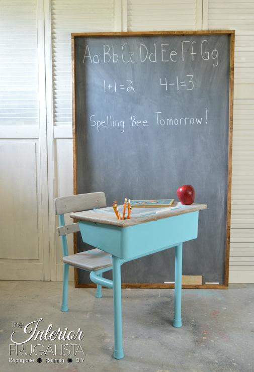 Vintage Metal Classroom Desk Painted Aqua