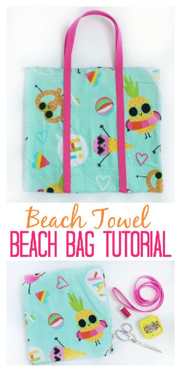 DIY Beach Bag Made Out of a Beach Towel