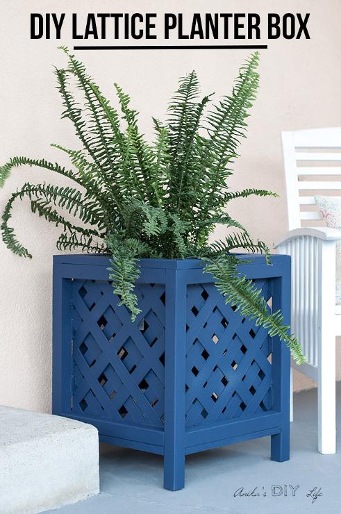 DIY Lattice Planter Box