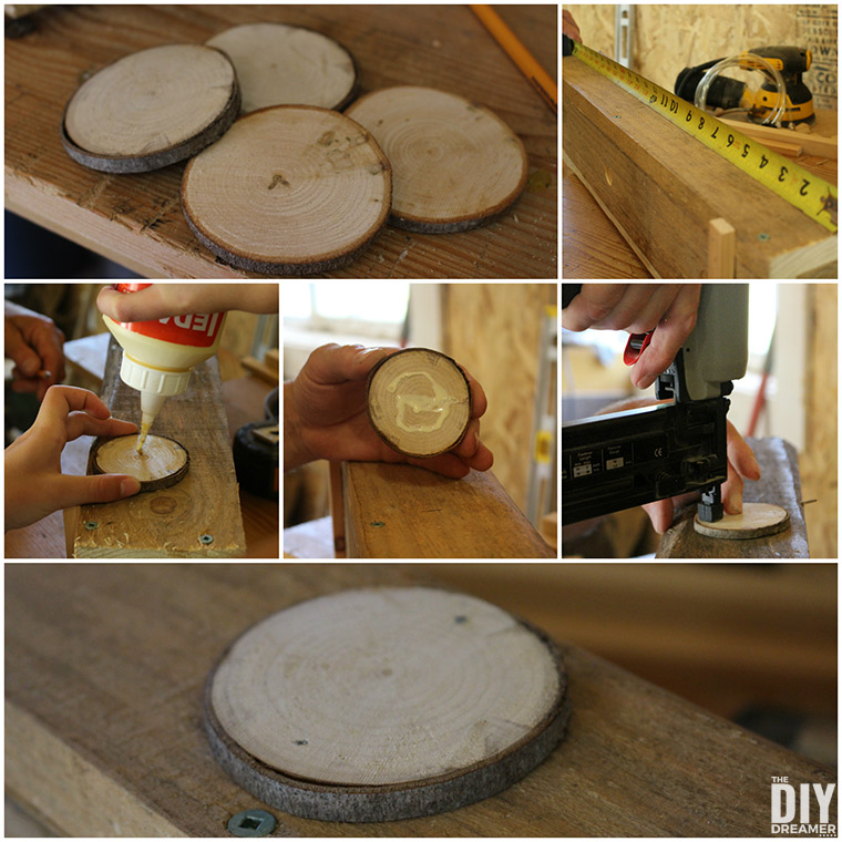 Adding wood slices to the front of the flower boxes