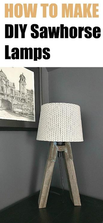 Vintage Industrial DIY Sawhorse Lamps