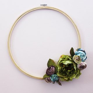 DIY Floral Embroidery Hoop Wreath