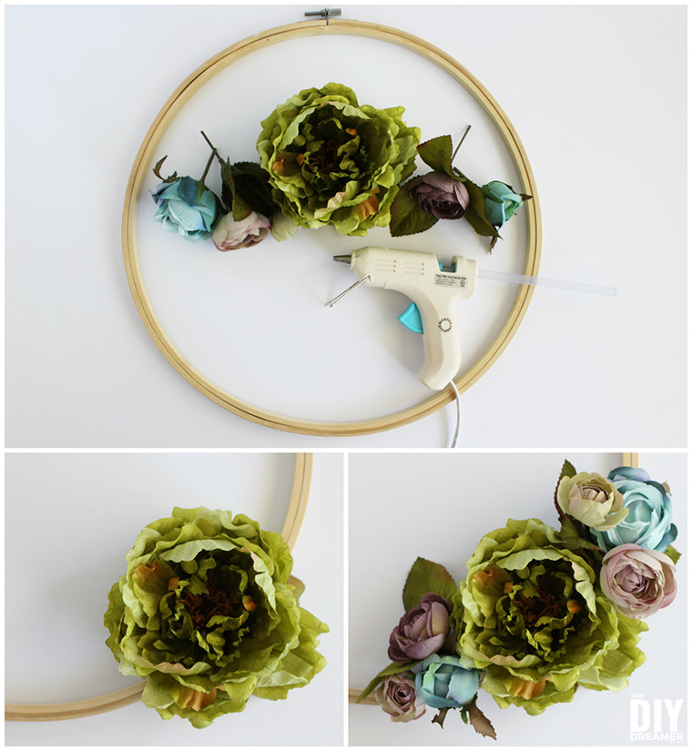How to make an embroidery hoop wreath with artificial flowers