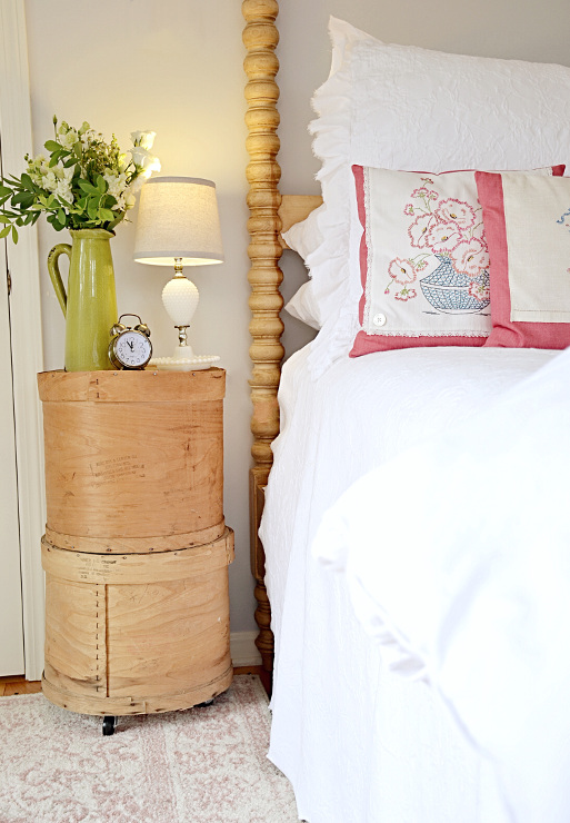 DIY Bedside Table with Vintage Cheese Crates