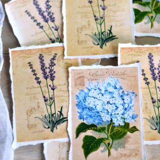 Hydrangea and Lavender Vintage Tags with Torn Edges