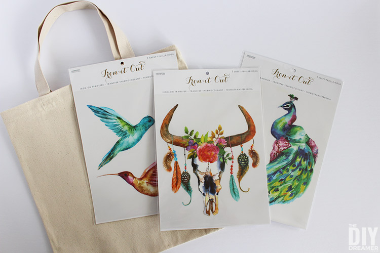 Canvas tote bag with a collection of beautiful iron-on transfers