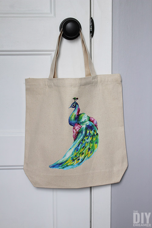 Beautiful custom tote bag with peacock iron-on transfer.